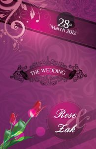 Wedding invitation card front purple design