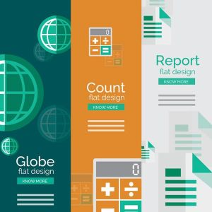 Data reports flat banners vector