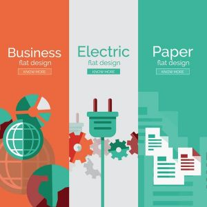 Paper flat banners vector