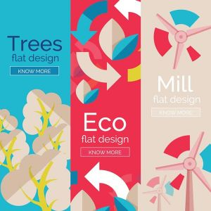 Eco flat banners vector