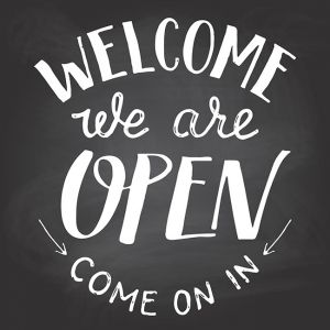 Welcome we are open chalkboard sign,Welcome we are open chalkboard sign