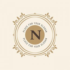 The letter N. Flourishes calligraphic monogram emblem template. Luxury elegant frame ornament line logo design vector illustration. Example designs for Cafe, Hotel, Heraldic, Restaurant, Boutique