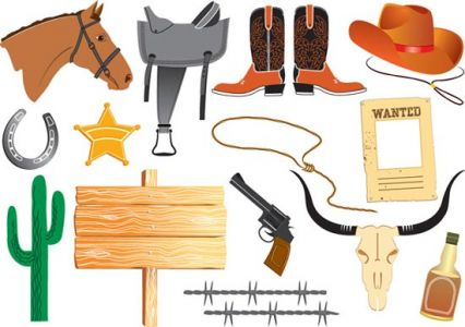 Wild west cowboy cartoons vector