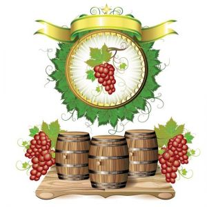 Wine barrels with purple grapes vectors