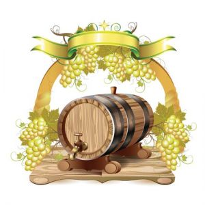 Wine barrels with white grapes vectors