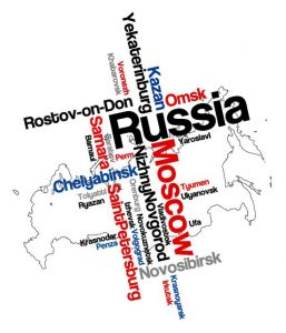 Russia word collage vector