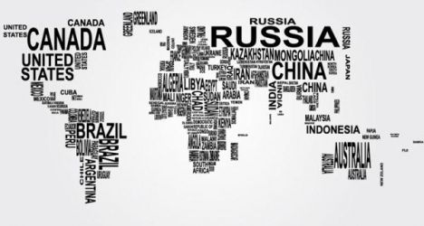 World map word collage vector