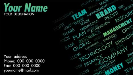 Word collage business cards vectors