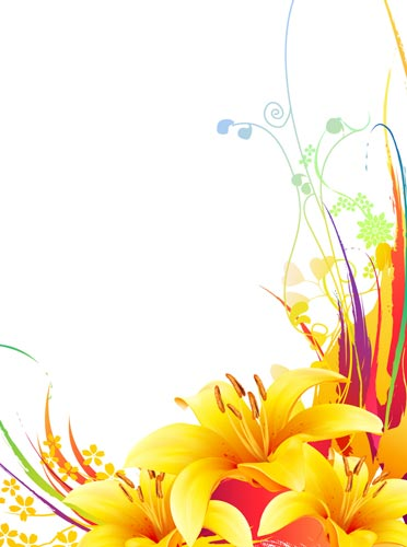 Yellow lily vector flower design