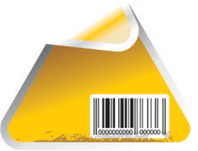 Yellow sticker vectors with bar codes
