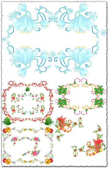 19 Christmas vector borders