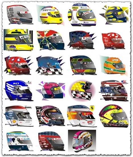 20 Bike vector helmets corel draw format