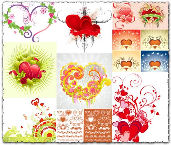 28 Hearts vector templates