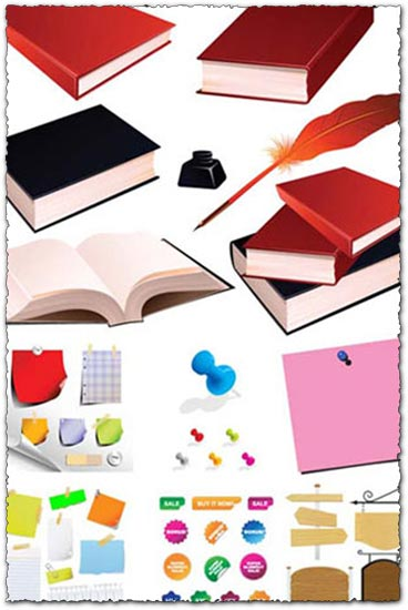 Books stickers and labels vectors