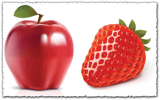 Vector fruits - apple and strawberry