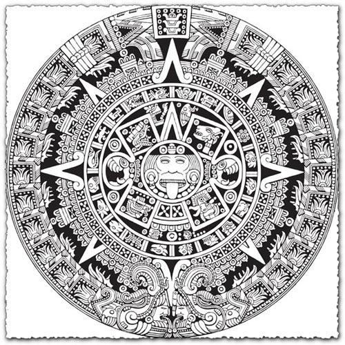 Aztec Calendar Vector EPS