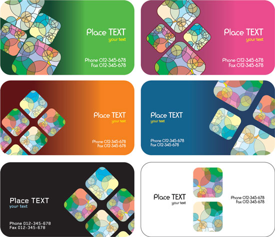 6 Business cards vector templates