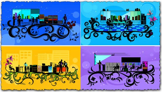 Business silhouettes people vectors