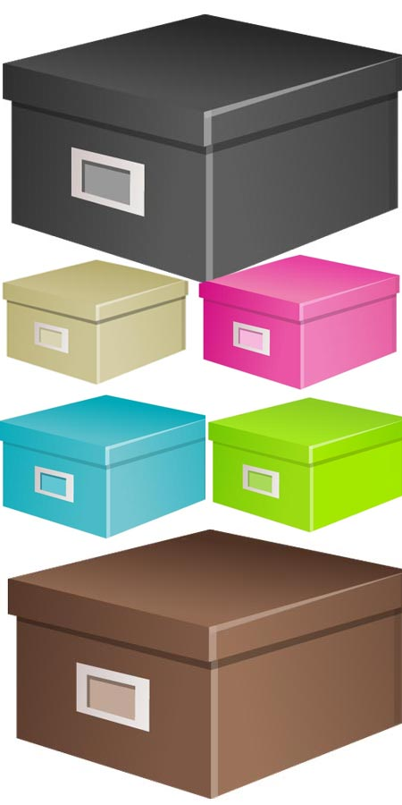 Vector boxes in different shapes and colors