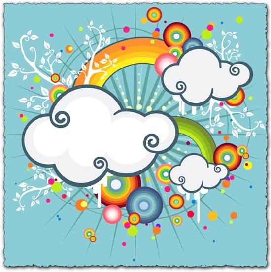 Colorful cloud illustration vector