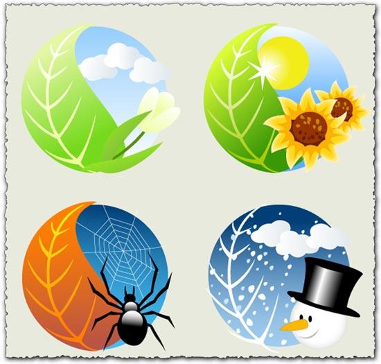 Four seasons vector design