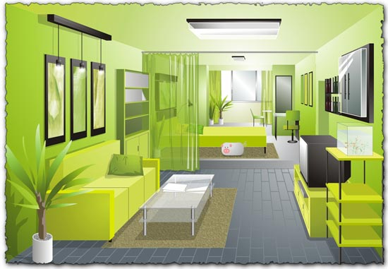 Cdr interior design vector - Bedroom Interior Design Vector 02 Free Download