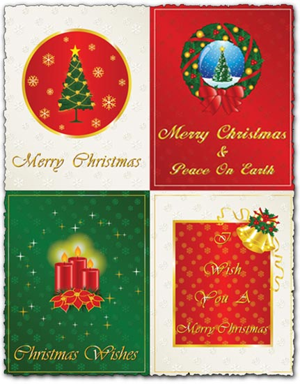 Merry Christmas And New Year Cards Vectors Eps