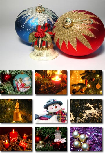 Christmas posters with tree, globes and objects
