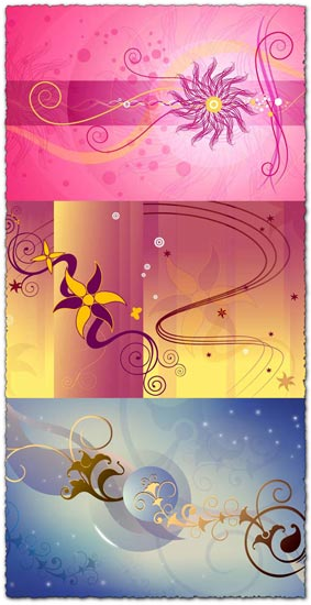 Sunny vector with floral designs