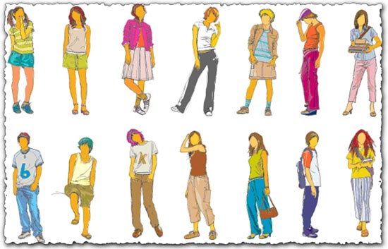 Teenagers silhouette vectors