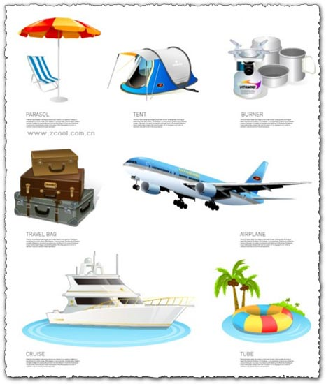 Travel icons collection vectors