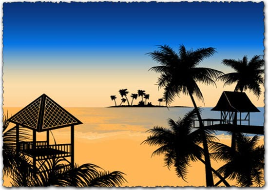 Tropical beach Vector EPS