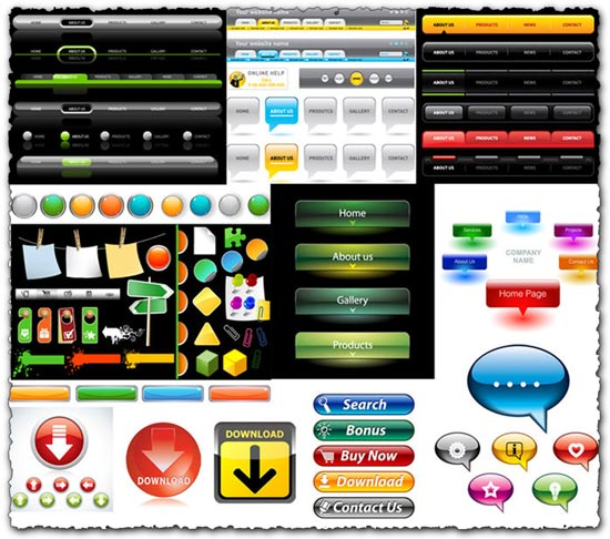 Vector buttons for web design