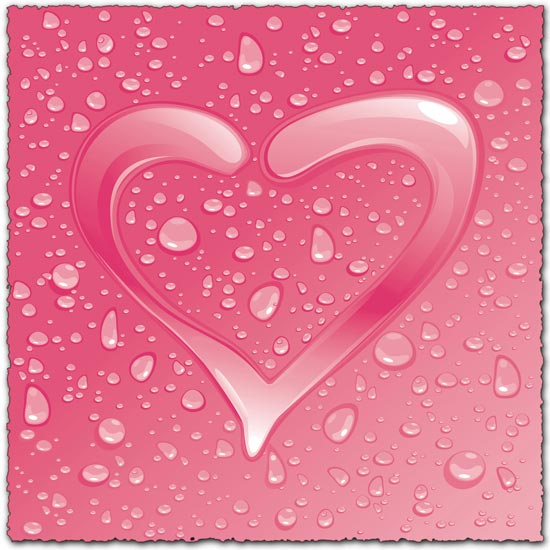 Dew Effect heart Vector EPS