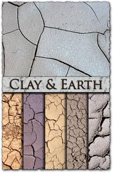 Cracked textures on clay and soil