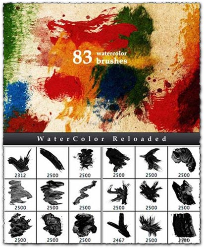 Artistic watercolor photoshop brushes
