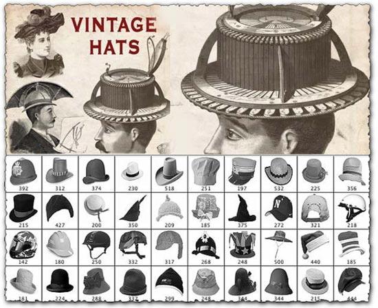 Photoshop Vintage Hats Brushes