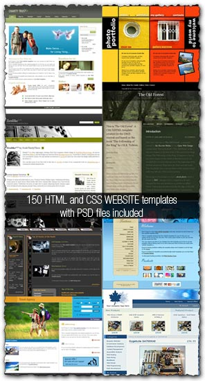 150 HTML templates with PSD files