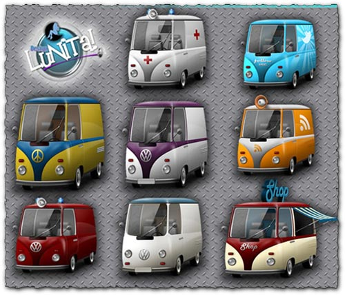 Png bus Car icons collection