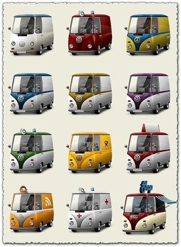 Vintage vehicles transparent icons