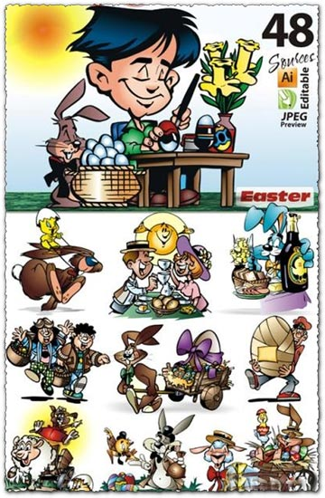 48 Easter cartoon caracter cliparts