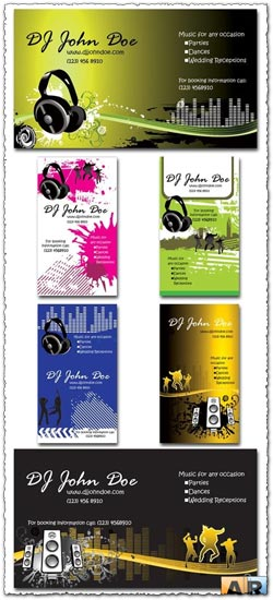 6 Photoshop clubbing business cards templates