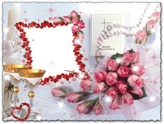 Romantic photoshop wedding frame