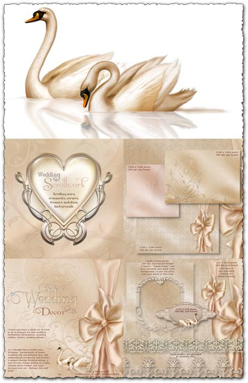 PSD wedding ornaments frames and backgrounds