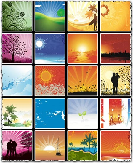 Summer and sunset vectors