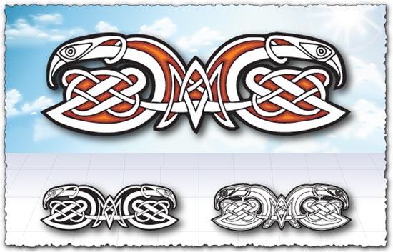 Arabic eagle ornament vector