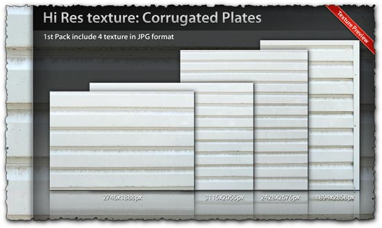 Corrugated plates high resolution textures