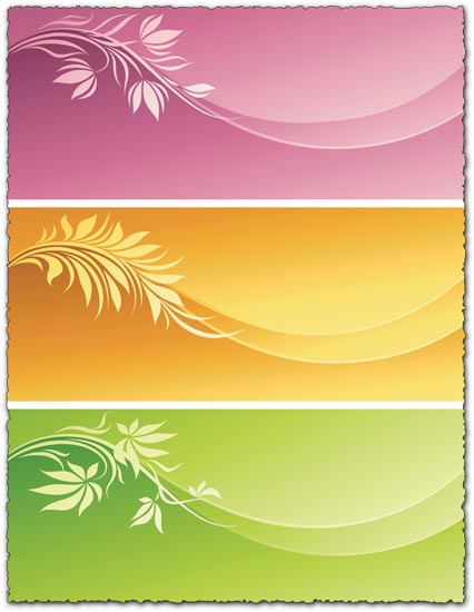 3 Floral vector banners