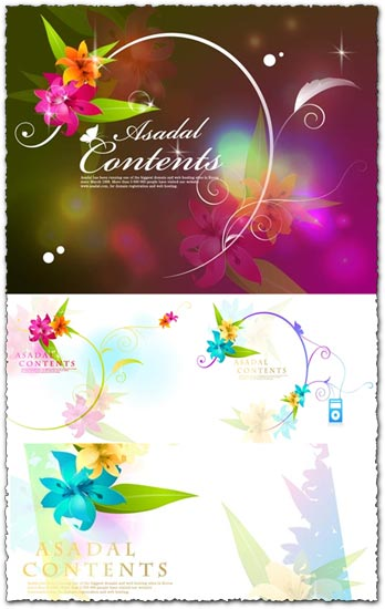 Music and flowers in vector format
