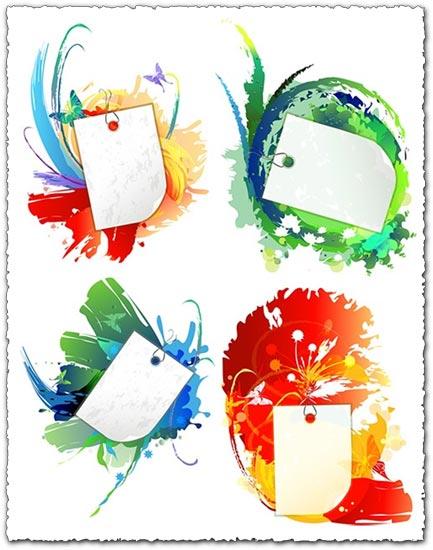 Flower grunge label design